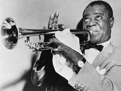 Louis Armstrong with trumpet